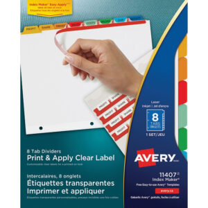 Avery® Index Maker Print & Apply Clear Label Dividers With Traditional  Color Tabs – 8 Tab(S)/set – Multicolor Divider – 8 / Set with 8 Tab Divider Template Word