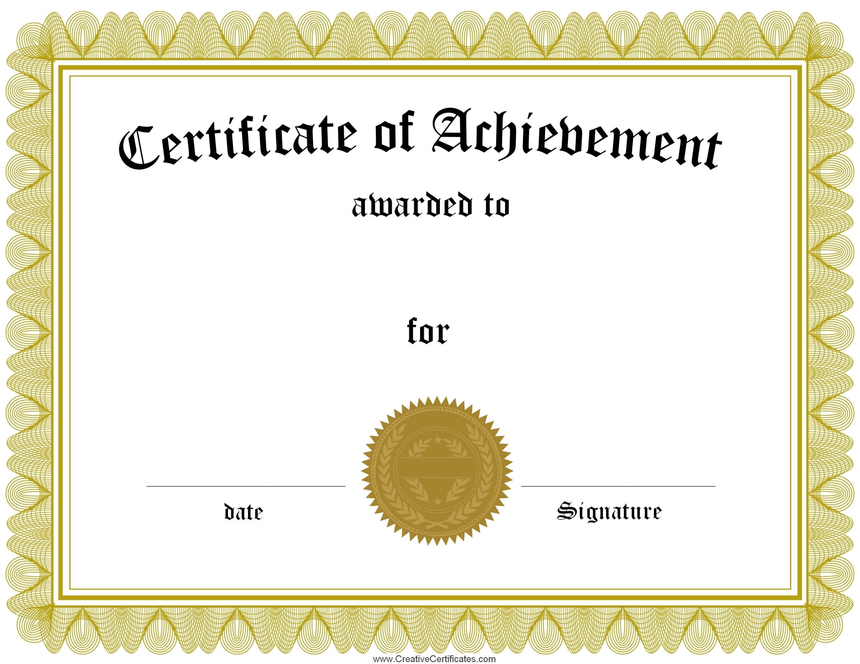 Award Certificate Template Certificate Templates Best Free Pertaining To Blank Certificate Of Achievement Template