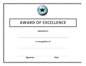 Award Of Excellence Certificate throughout Congratulations Certificate Word Template
