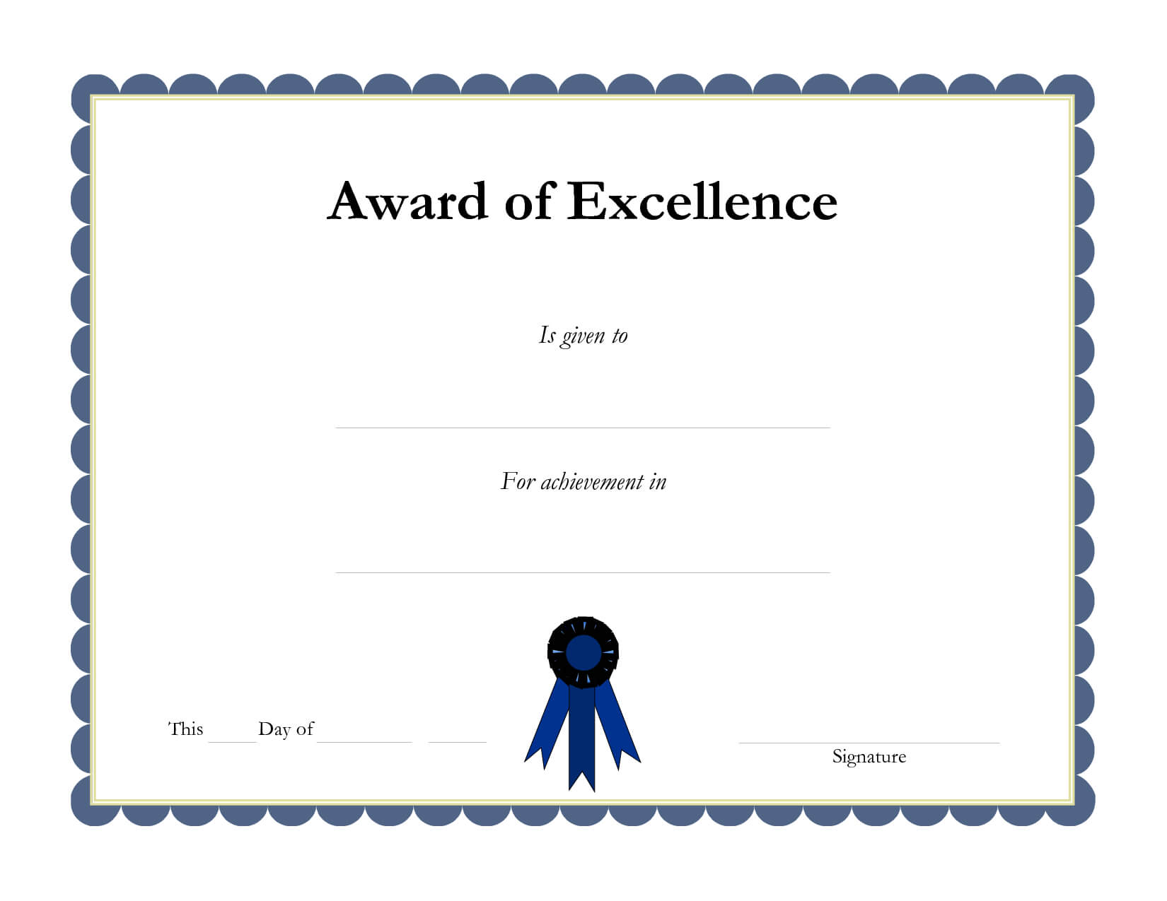 Award Template Certificate Borders | Award Of Excellenceis For Award Certificate Border Template