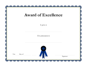 Award Template Certificate Borders | Award Of Excellenceis in Free Printable Certificate Border Templates