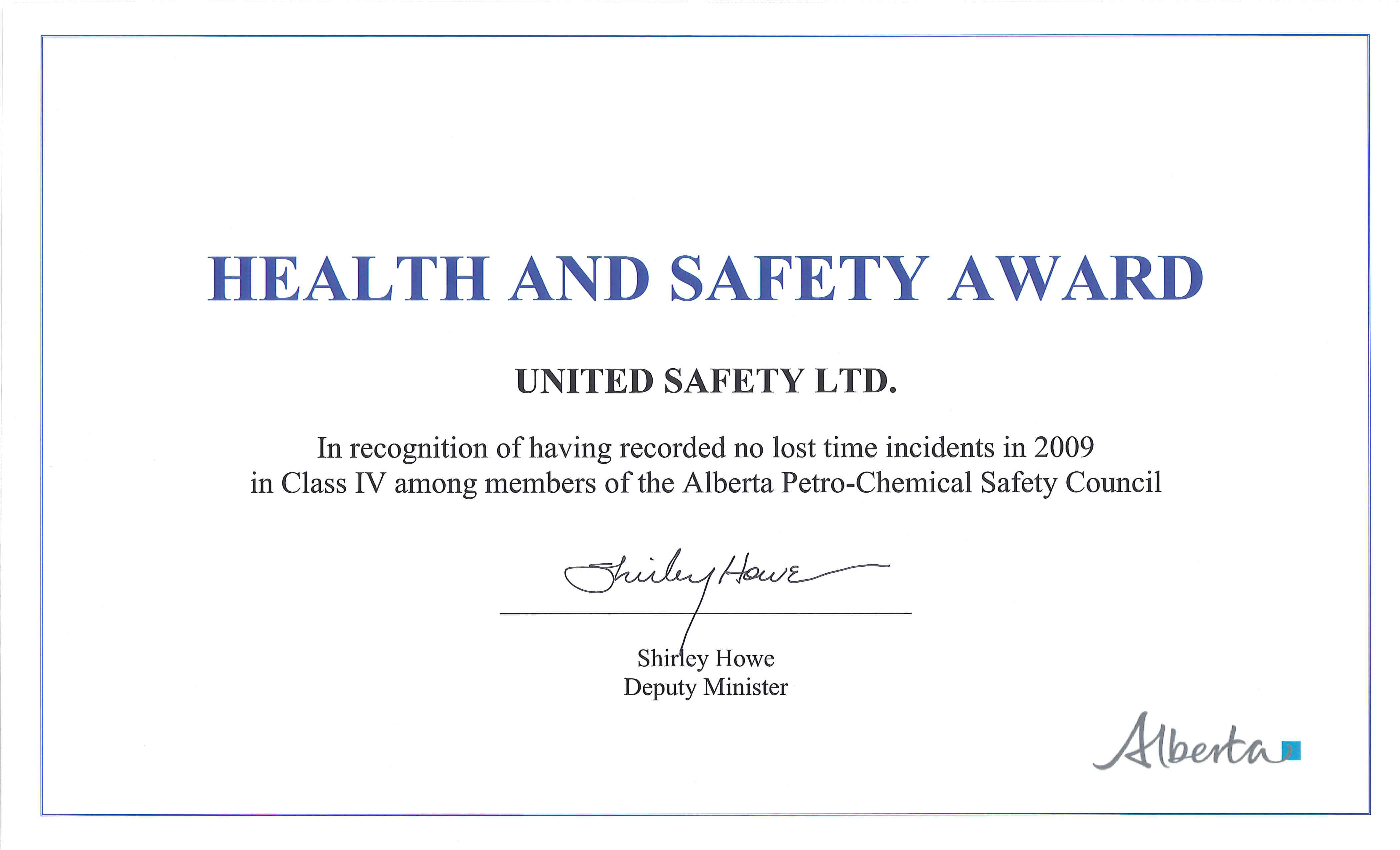 Awards And Recognition | United Safety Inside Client In Safety Recognition Certificate Template