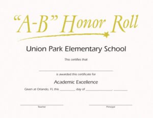 B Honor Roll Certificate Template Brochure Templates inside Honor Roll Certificate Template
