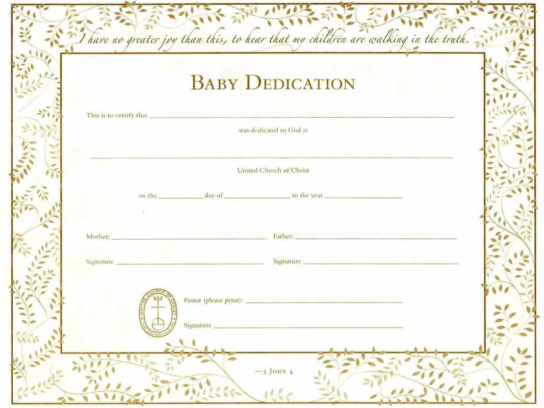 Baby Dedication Certificates | Template Business With Regard To Walking Certificate Templates