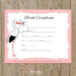 Baby Doll Birth Certificate Template Or With Free Printable In Baby Doll Birth Certificate Template