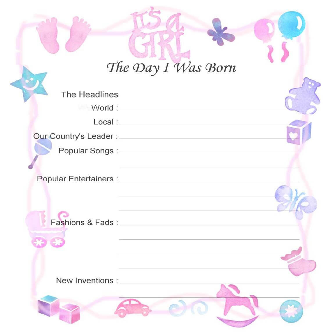 Baby Record Book Printable Pages - Google Search | Baby For Girl Birth Certificate Template