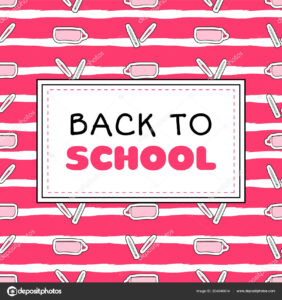 Back School Banner Template Vector Pink Girls Concept for College Banner Template