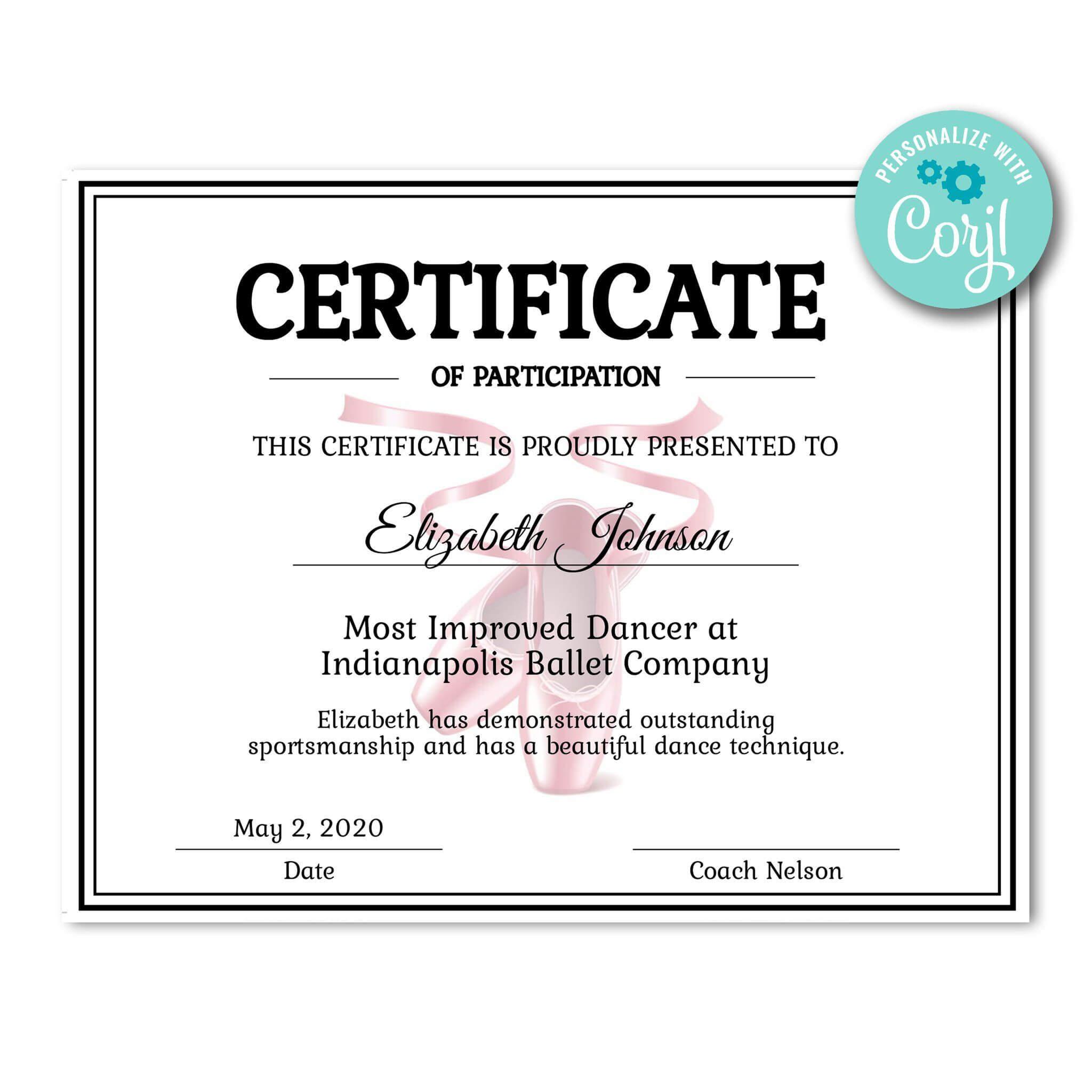 Ballet Certificate | Certificates | Printable Award In Dance Certificate Template