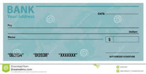 Bank Check / Cheque Template Stock Vector – Illustration Of inside Large Blank Cheque Template