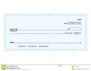 Bank Check Stock Vector. Illustration Of Template, Payment for Large Blank Cheque Template