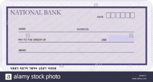 Bank Cheque Stock Photos & Bank Cheque Stock Images – Alamy within Large Blank Cheque Template