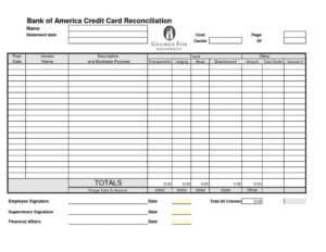 Bank Reconciliation Worksheet D365 Template Excel Free throughout Credit Card Statement Template Excel