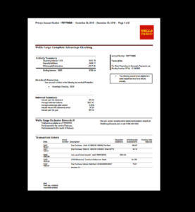 Bank, Statement, Wells Fargo Template, Fake, Custom inside Blank Bank Statement Template Download