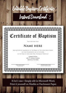 Baptism Certificate Template Microsoft Word Editable | Etsy pertaining to Baptism Certificate Template Word