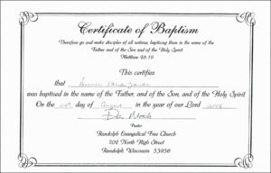 Baptism Certificate Template Word Free with regard to Roman Catholic Baptism Certificate Template