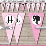 Barbie Party Banner Template For Free Printable Party Banner Templates