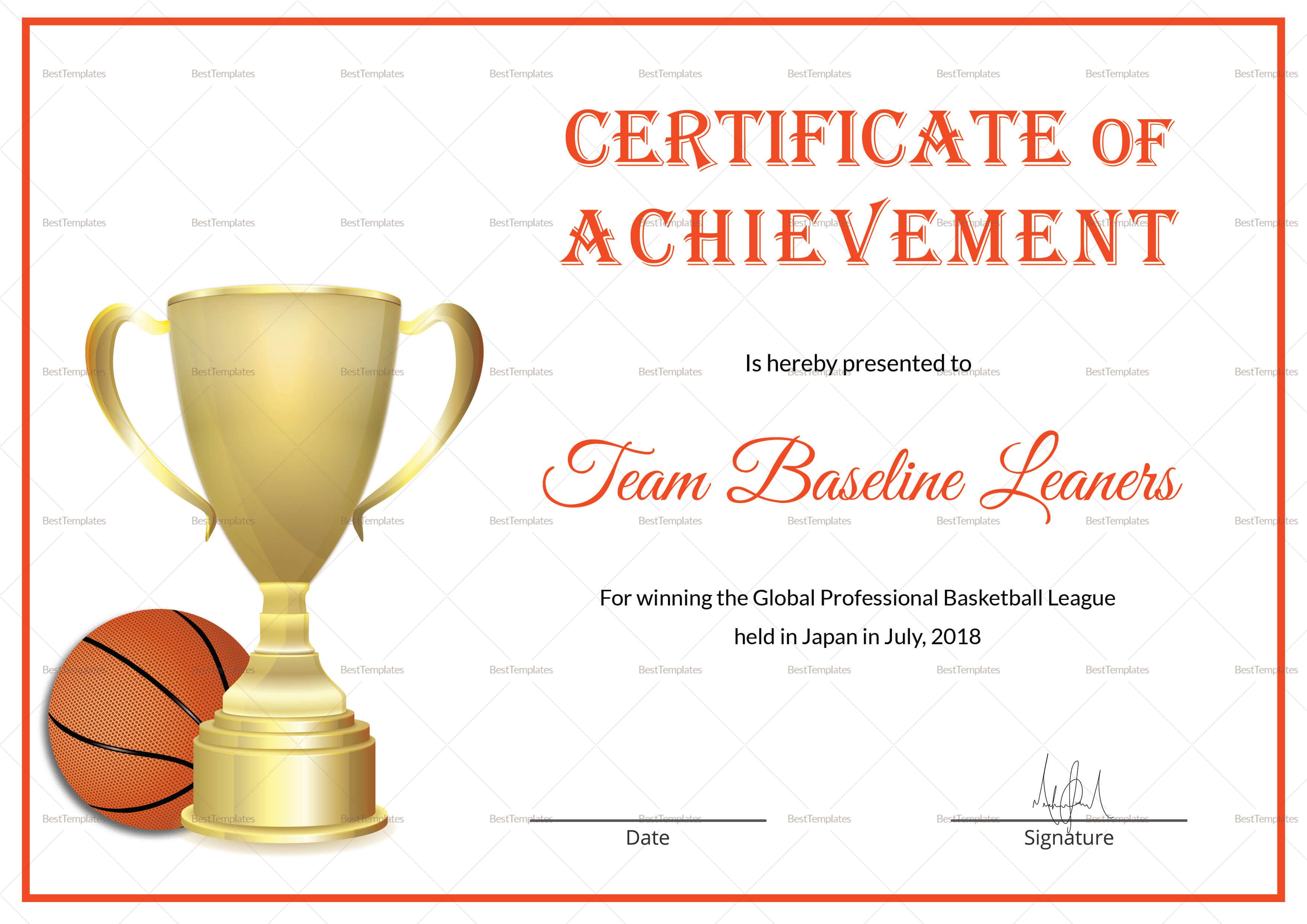Basketball Achievement Certificate Template With Regard To Basketball Certificate Template