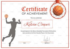 Basketball Award Achievement Certificate Template for Sports Award Certificate Template Word
