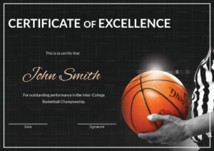 Basketball Excellence Certificate Template intended for Basketball Certificate Template