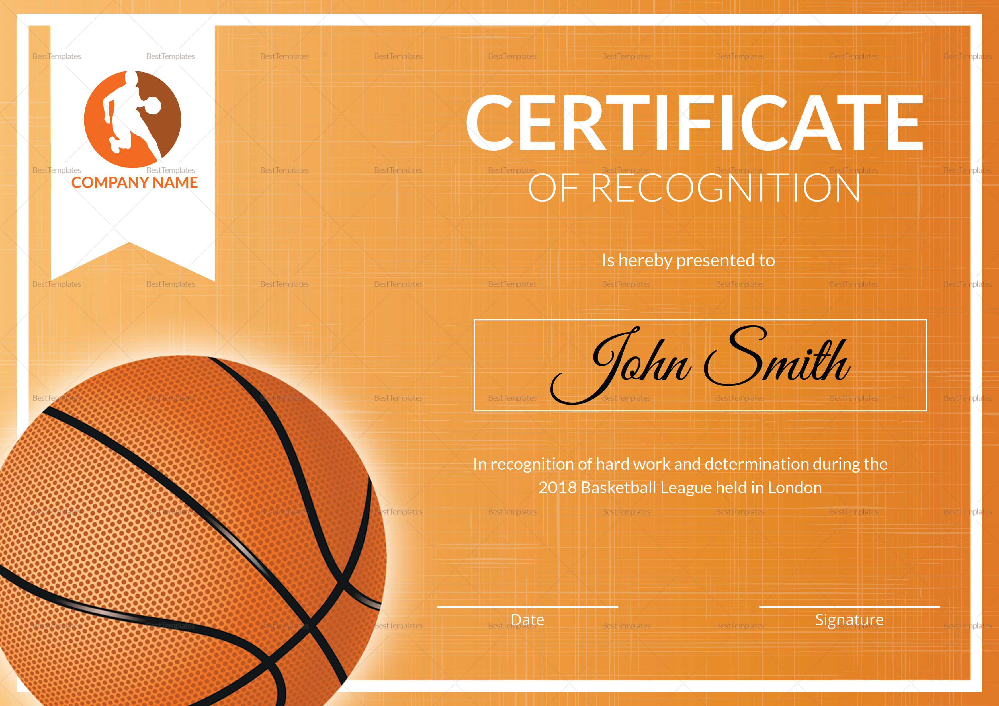 Basketball Recognition Certificate Template Pertaining To Basketball Certificate Template