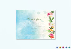 Beach Thank You Card Template within Thank You Card Template Word