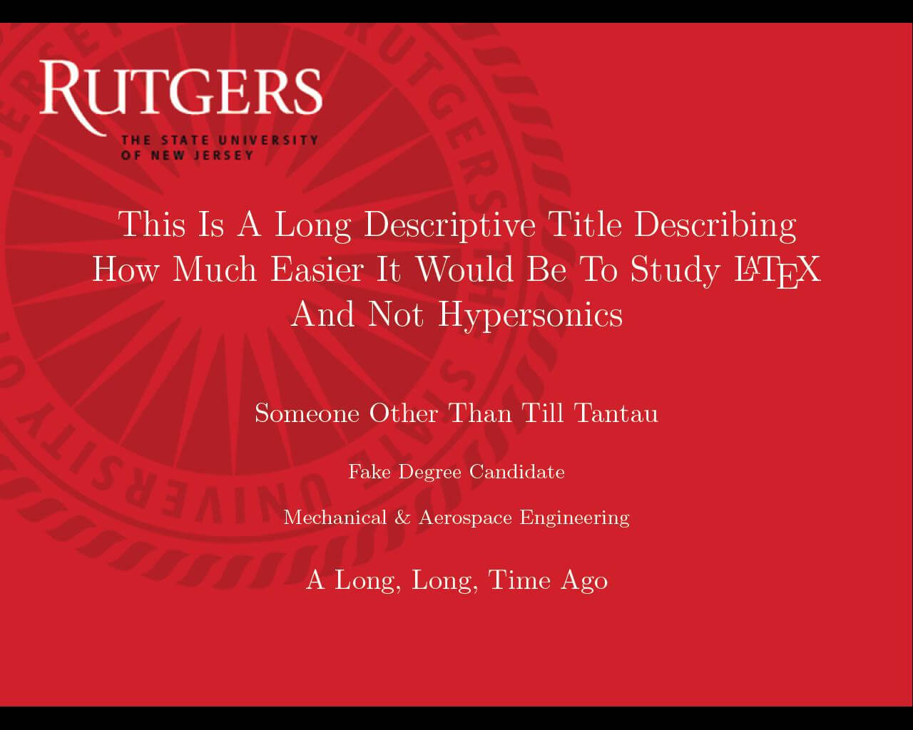 Beamer - Can I Specify Title Page Customization In A for Rutgers Powerpoint Template