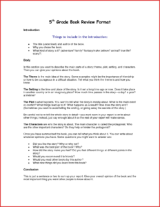 Beautiful 5Th Grade Book Summary Format | Job Latter intended for Book Report Template 5Th Grade