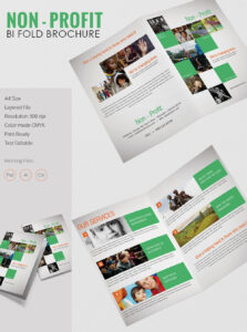 Beautiful Non Profit A4 Bi Fold Brochure Template | Free with Two Fold Brochure Template Psd