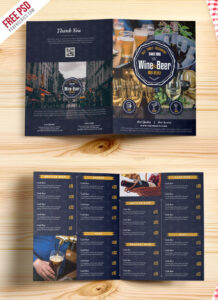 Beer And Wine Menu Bi-Fold Brochure Template Psd intended for Wine Brochure Template