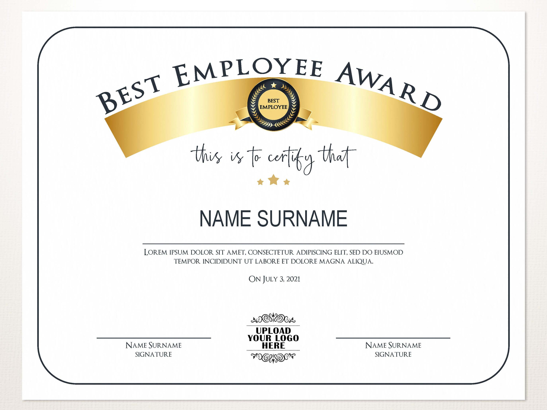 Best Employee Award, Employee Award Template, Editable Logo, Printable  Award, Elegant Employee Award, Employee Of Month, Employee Awards In Best Employee Award Certificate Templates