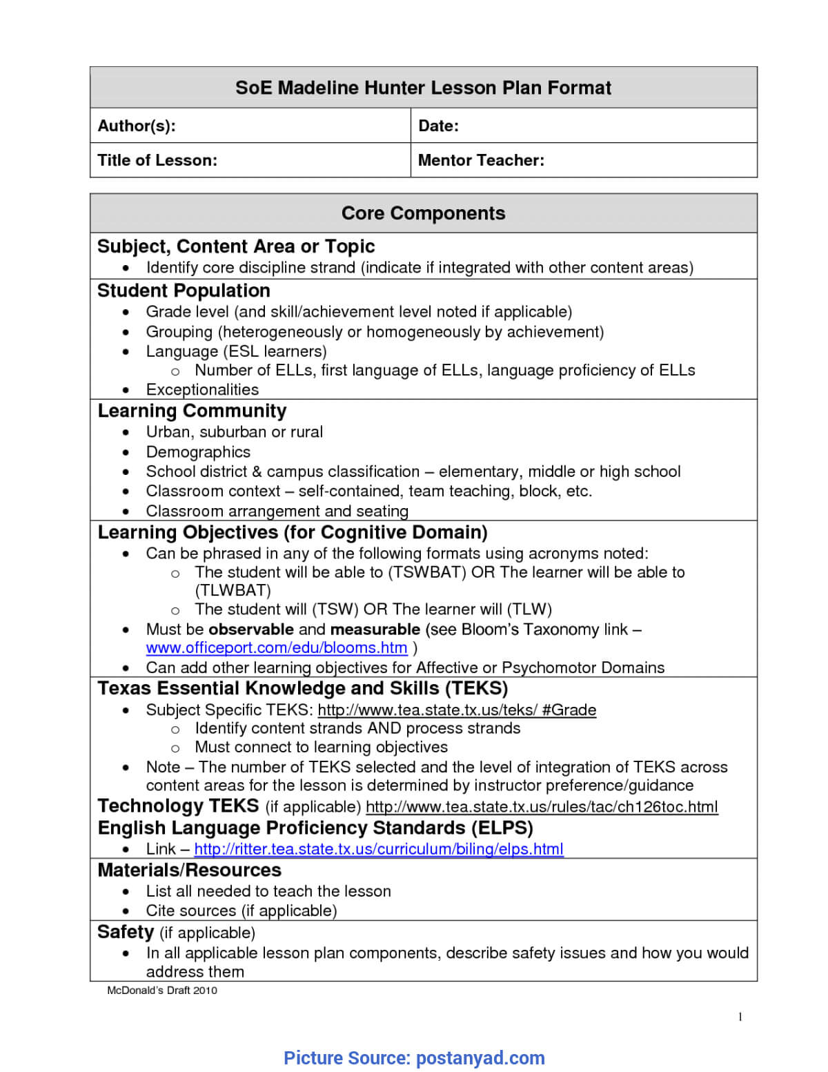 Best Madeline Hunter Lesson Plan Components Madeline Hunter With Madeline Hunter Lesson Plan Template Word