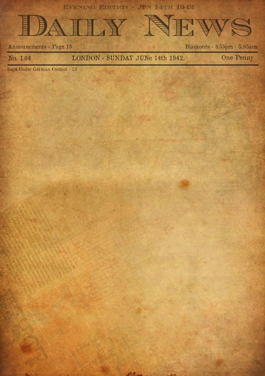Best Photos Of Old Newspaper Template - Editable Old Inside Blank Old Newspaper Template