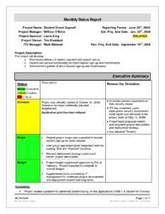 Best Photos Of Project Status Report Template – Powerpoint pertaining to Monthly Status Report Template Project Management