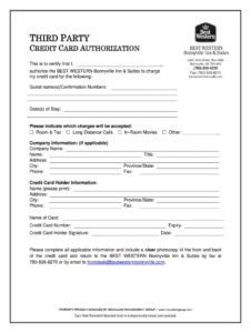 Best Western Card Authorization Form – Fill Online within Hotel Credit Card Authorization Form Template