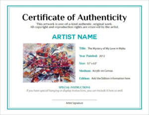 Bill Of Sale Certificate Of Authenticity Agora Gallery intended for Certificate Of Authenticity Photography Template