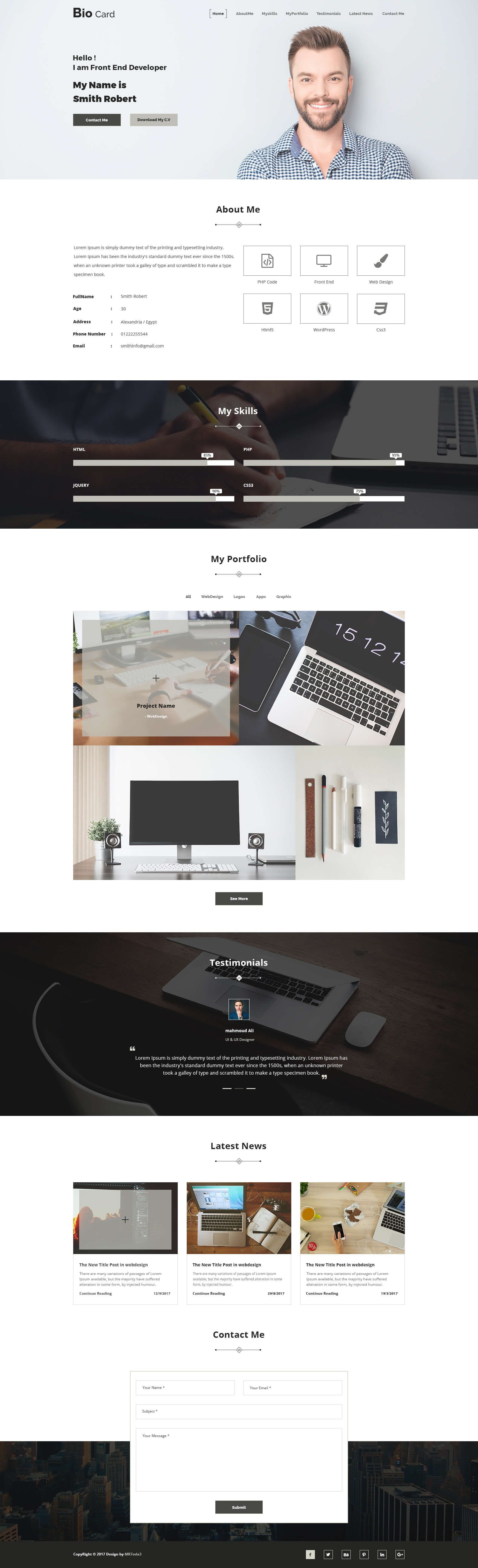 Biocard – Personal Portfolio Psd Template Intended For Bio Card Template