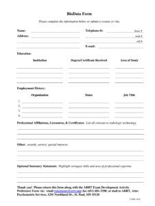 Biodata Form – Fill Online, Printable, Fillable, Blank pertaining to Free Bio Template Fill In Blank
