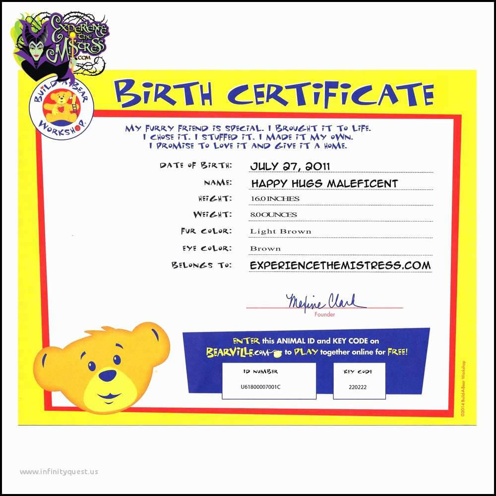 Birth Certificate Bond Tracking Number Awe Inspiring Free Within Build A Bear Birth Certificate Template