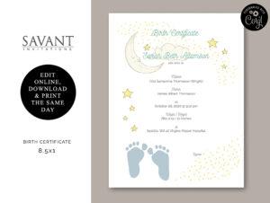 Birth Certificate – Printable Certificate Of Birth, Newborn Gift, Baby  Shower Gift, You Edit, Girl, Boy, Bc7 inside Girl Birth Certificate Template