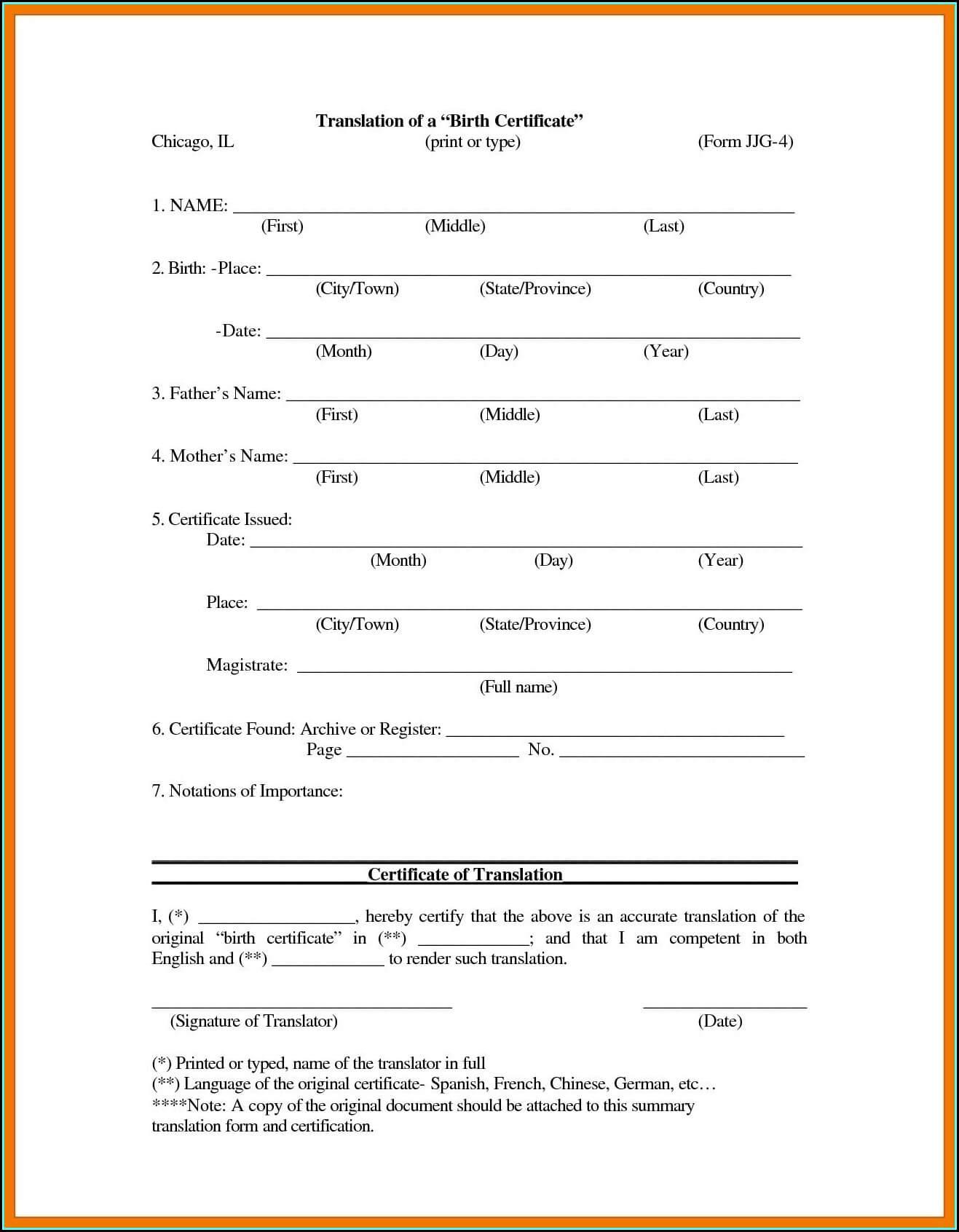 Birth Certificate Translation Template Uscis - Template 1 Within Uscis Birth Certificate Translation Template