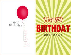 Birthday Card Template Word Quarter Fold Free 2013 Text regarding Quarter Fold Birthday Card Template