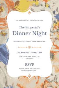 Birthday Dinner Invitation Templates | Party Invitation Card in Free Dinner Invitation Templates For Word