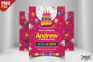 Birthday Invitation Card Design Free Psd – Psd Zone regarding Photoshop Birthday Card Template Free