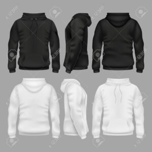 Black And White Blank Sweatshirt Hoodie Vector Templates Pertaining To Blank Black Hoodie Template