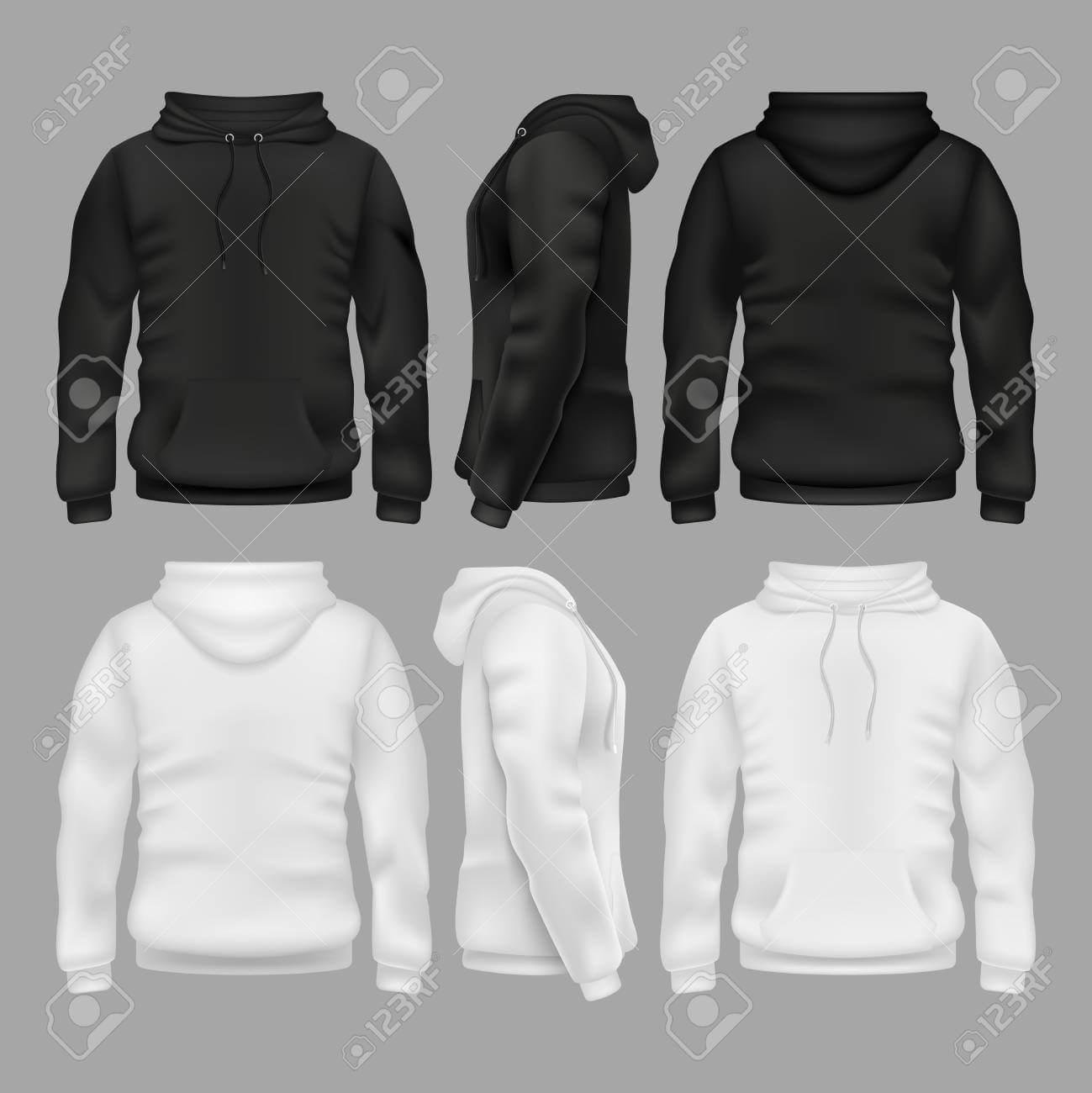 Black And White Blank Sweatshirt Hoodie Vector Templates Pertaining To Blank Black Hoodie Template