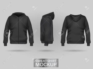 Black Sweatshirt Hoodie Template In Three Dimensions: Front,.. Within Blank Black Hoodie Template