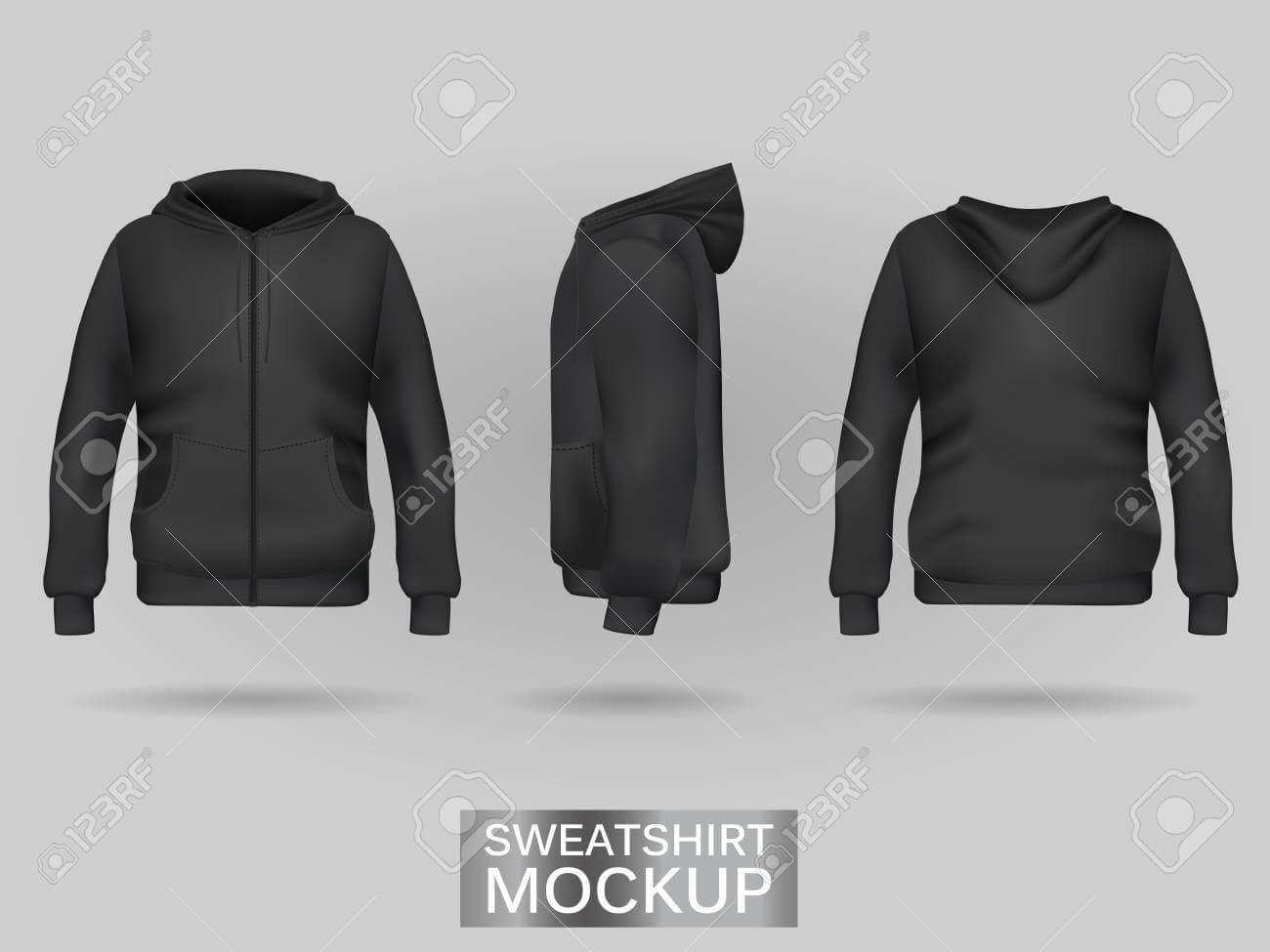 Black Sweatshirt Hoodie Template In Three Dimensions: Front,.. Within Blank Black Hoodie Template