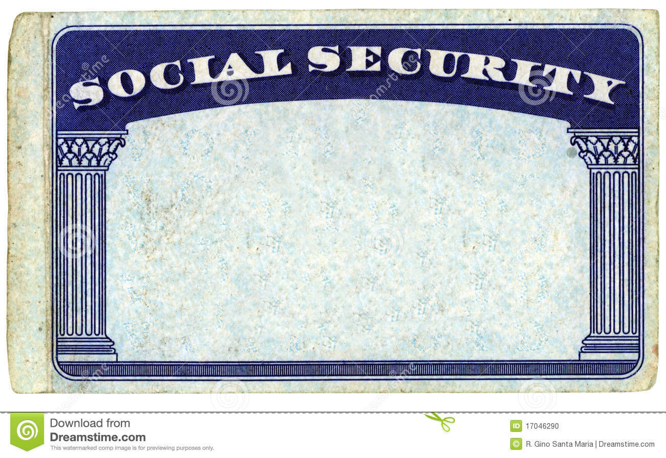 Blank American Social Security Card Stock Photo - Image Of Inside Social Security Card Template Download