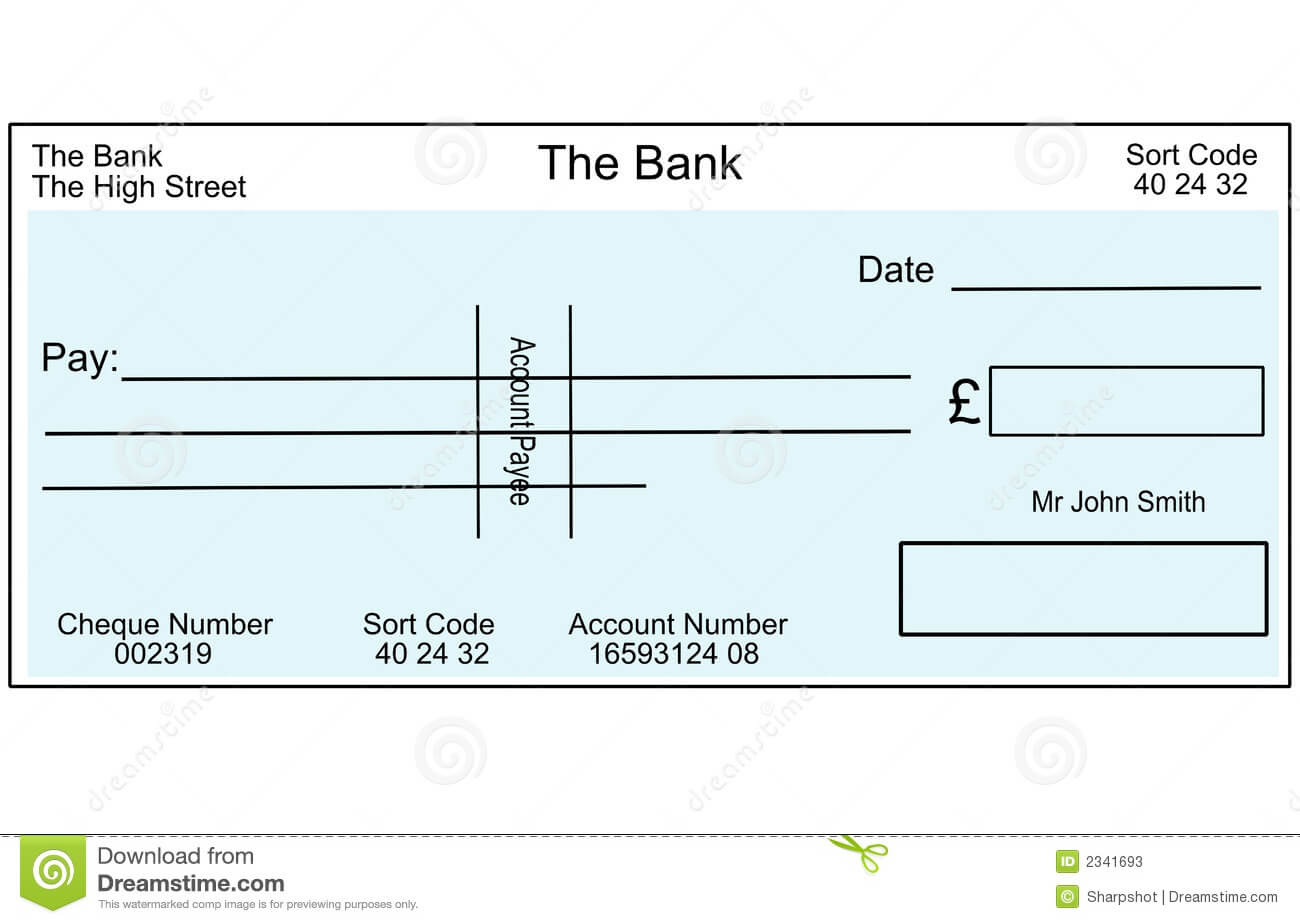 Blank British Cheque Stock Illustration. Illustration Of In Blank Cheque Template Uk