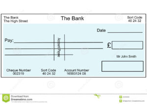 Blank British Cheque Stock Illustration. Illustration Of throughout Blank Cheque Template Download Free